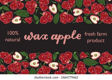 vector illustration of wax apple and leaf design with lettering wax apple background black and fruit and text fresh farm product 100% natural EPS10