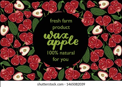 vector illustration of wax apple and leaf design with lettering wax apple background black and fruit and text fresh farm product 100% natural for you EPS10