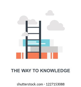 Vector illustration of the way to knowledge flat design concept.