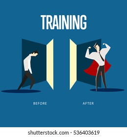 Vector illustration of weak man before training and strong man after training