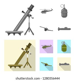 Vector illustration of weapon and gun icon. Set of weapon and army stock vector illustration.