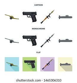 Vector illustration of weapon and gun icon. Collection of weapon and army stock vector illustration.