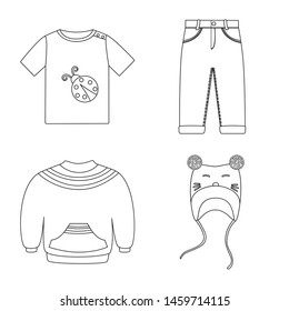 Vector illustration of wear and child icon. Set of wear and apparel stock vector illustration.