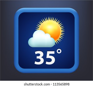 Vector illustration of weather icon - sun with cloud