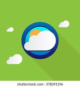 Vector Illustration of weather in long shadow flat style