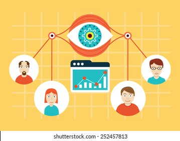 Vector illustration of web analytics information and development website statistic - vector illustration