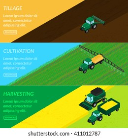 vector illustration. Web banners agriculture farming. tractor tills the field, plowing, sprays insecticide. Harvester gathers the wheat crop. isometric, infographics, 3D