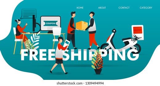 """vector illustration for web concept. courier who deliver package to customer for free. buyer get coupon from customer service for """"FREE SHIPPING"""". industrial revolution 4.0, flat character style"""