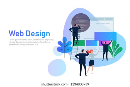 Vector illustration. Web design creative teamwork. People are building a business project on the Internet. The monitor screen is a building site. Collective performance of tasks. Vector