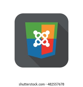 vector illustration of web development shield sign symbol content system. isolated badge