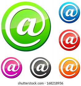 Vector illustration of web mail icons on white background