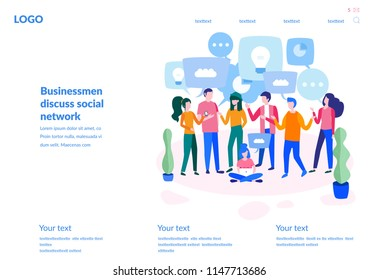 Vector illustration, for web page, banner, presentation, social media, documents, cards, posters. businessmen discuss social network, news, social networks, chat, dialogue speech bubbles, smart team