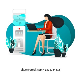 Vector Illustration For Web Page, Element, Banner, Presentation, Poster, UI. Sexy Secretary or Business Woman Working & Sitting At Office Desk with Laptop. Elegant Female Assistant. Flat Cartoon Style