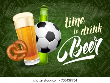 Vector illustration for web, poster, invitation to beer party or watching a sports match in the pub. Chalkboard background with pattern on beer theme.