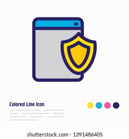 Vector illustration of web security icon colored line. Beautiful advertising element also can be used as safety icon element.