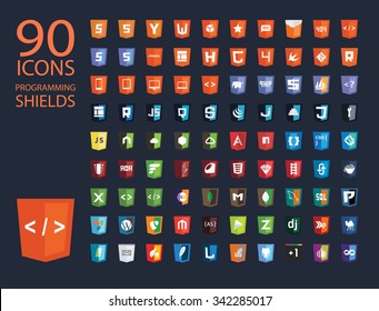 vector illustration of web shields, illustrating programming frontend and backend technologies