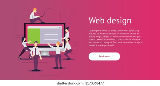 vector illustration - web site development. Monitor, computer on background