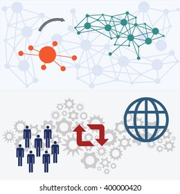 vector illustration / website banners / centralization and decentralization / people and world
