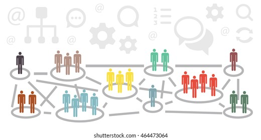 vector illustration of website horizontal  banner for international relationship concept with colorful groups of people connected and communication symbols above them