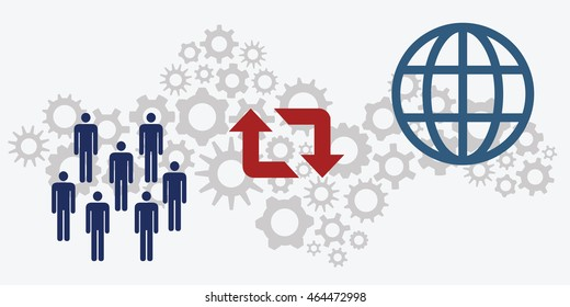 vector illustration of website horizontal  banners for community cooperation on international level concept with people and globe