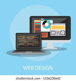 "Vector illustration of website & technology concept with ""web design"" computer and interface icon."