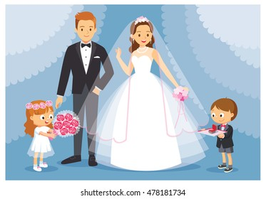 Vector illustration the wedding with the bride and the groom. The boy and the girl act as bridesmaids, groomsmen. The girl is holding a bouquet of roses, the boy holding a tray with wedding rings box.