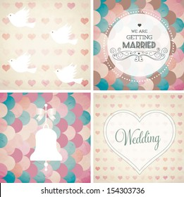 Vector illustration. Wedding invitation card. Seamless pattern can be used for wallpaper, web page background, pattern fills, surface textures...