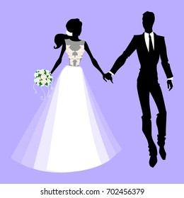 Vector illustration wedding silhouettes. The groom and the bride for cards and invitations.
