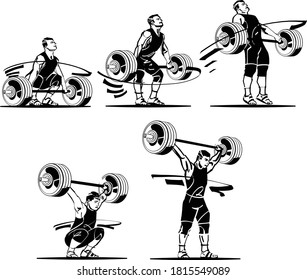 the vector illustration of the weight lifting process