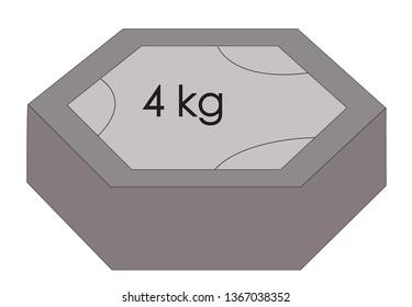 vector illustration of weight symbol of 4 kg