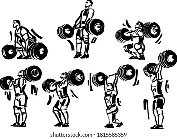 the vector illustration of the weightlifter with the barbell