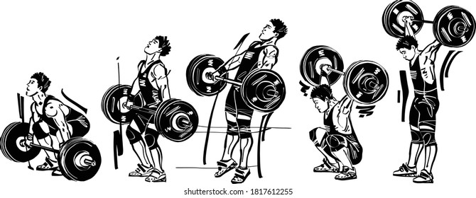 the vector illustration of the weightlifter with snatching barbell