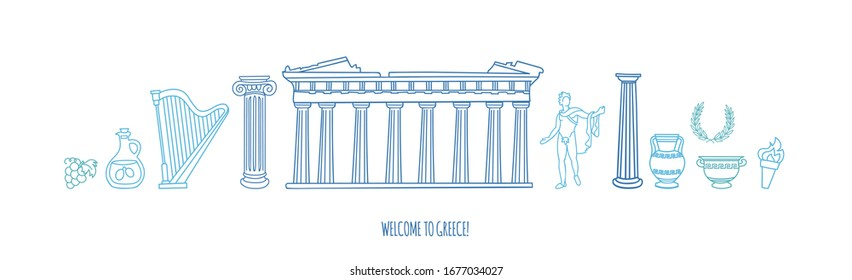 Vector illustration Welcome to Greece. Famous Greek symbols and landmarks. Travel to Athens and Greece. Doodle Parthenon, antique columns, statues, and vases. Panoramic city view in blue colors.