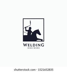 vector illustration the welder rides the horse. welding logo design iron work logo icon vector