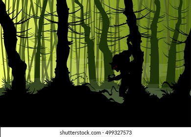 Vector illustration of a werewolf lurking in a creepy night forest with mist