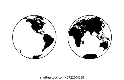 Vector illustration of Western and Eastern Hemispheres of planet Earth, silhouettes of continents. Eurasia, America, Africa, Australia, Antarctica