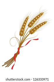 Vector illustration of wheat tied with a ribbon