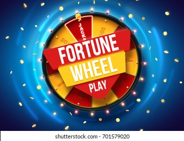 vector illustration of wheel of fortune 3d object isolated on blue background place for text