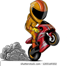 vector illustration Wheelies Biker Motorcycle Rider racing