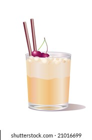 Vector illustration of whiskey drink, decorated with cherry and straw