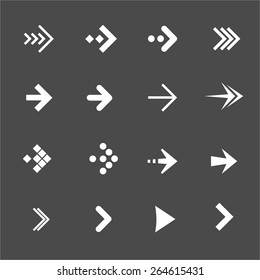 Vector illustration white arrows set on a black background. Flat Design