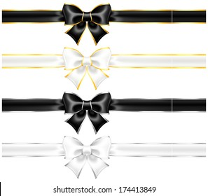 Vector illustration - white and black bows with gold and silver edging and ribbons. Created with gradient mesh and blending modes.