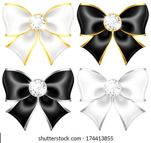 Vector illustration - white and black bows with diamonds and gold edging.  Created with gradient mesh and blending modes.