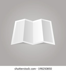 vector illustration of white blank card folded on a gray background