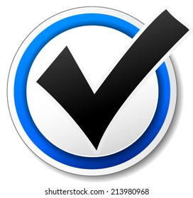 Vector illustration of white and blue check mark design icon