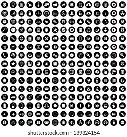 Vector illustration of white business & other various icons in black circles.
