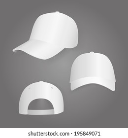 vector illustration of white caps in the three types of