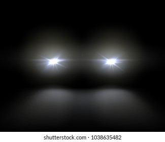 Vector illustration of white car headlights shining from darkness background, lights template. Isolated on black background