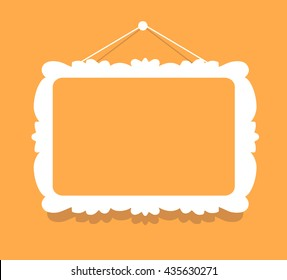 Vector illustration of white color vintage rectangular frame with shadow in modern style hanging on orange background. Flat art style design of frame for web, site, advertising, banner, poster