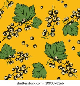 Vector illustration of white currants. Seamless pattern. White currant collection on yellow background